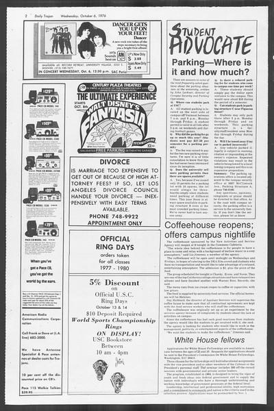 Daily Trojan, Vol. 70, No. 13, October 06, 1976