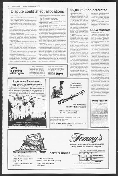 Daily Trojan, Vol. 72, No. 33, November 04, 1977