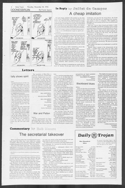 Daily Trojan, Vol. 70, No. 40, November 18, 1976