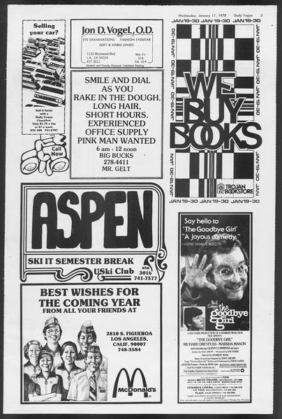 Daily Trojan, Vol. 72, No. 62, January 11, 1978