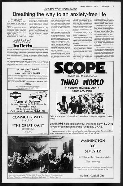 Daily Trojan, Vol. 68, No. 104, March 30, 1976