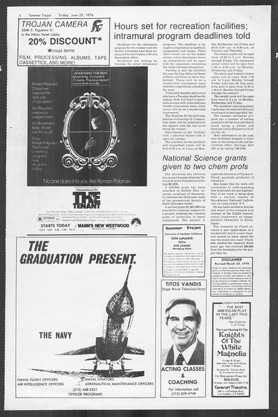 Summer Trojan, Vol. 69, No. 4, June 25, 1976
