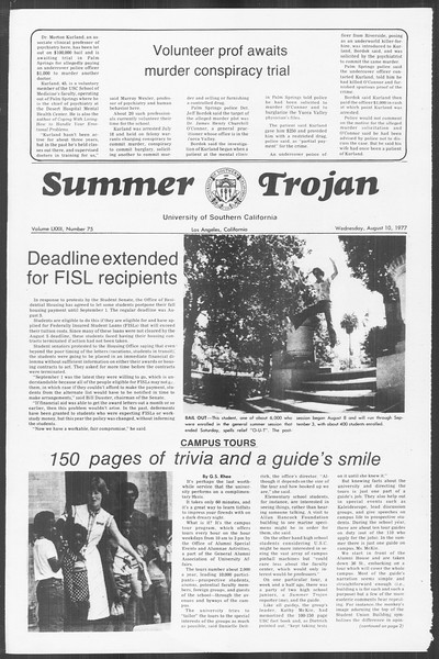 Summer Trojan, Vol. 72, No. 12, August 10, 1977