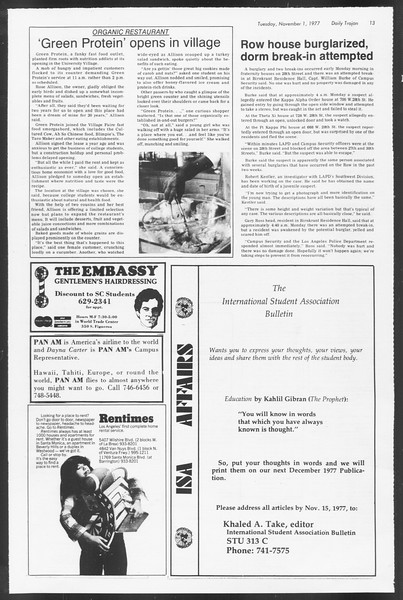 Daily Trojan, Vol. 72, No. 30, November 01, 1977