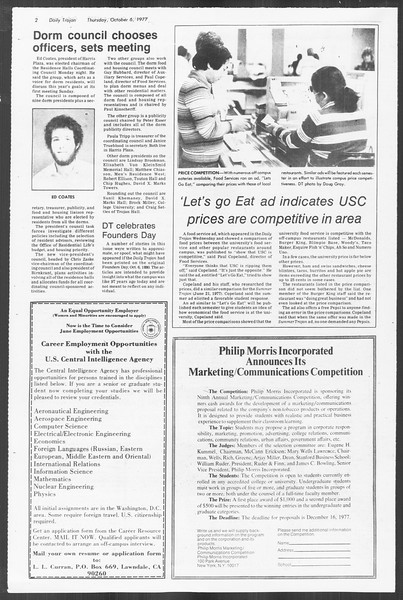 Daily Trojan, Vol. 72, No. 14, October 06, 1977