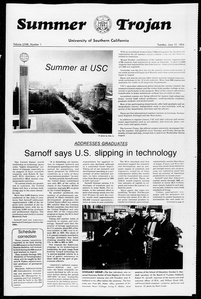 Summer Trojan, Vol. 68, No. 1, June 17, 1975