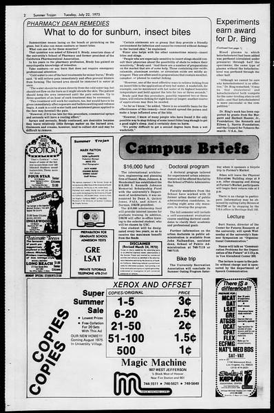 Summer Trojan, Vol. 68, No. 10, July 22, 1975