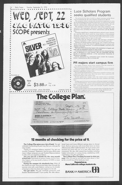 Daily Trojan, Vol. 70, No. 2, September 21, 1976