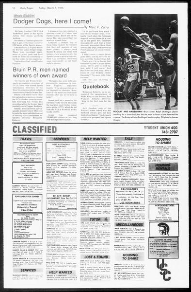 Daily Trojan, Vol. 67, No. 87, March 07, 1975