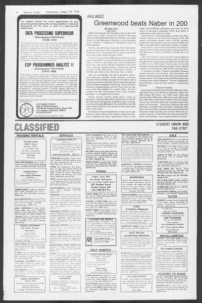 Summer Trojan, Vol. 69, No. 16, August 18, 1976