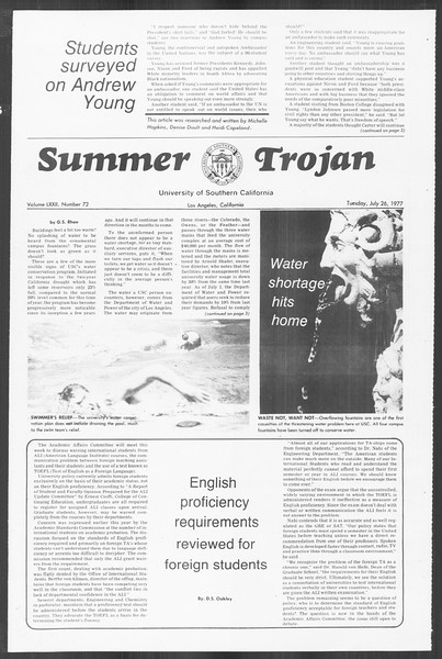 Summer Trojan, Vol. 72, No. 9, July 26, 1977