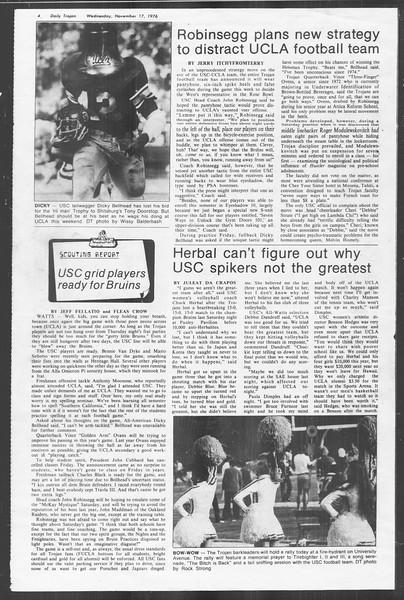Daily Trojan, Vol. 70, No. 39, November 17, 1976