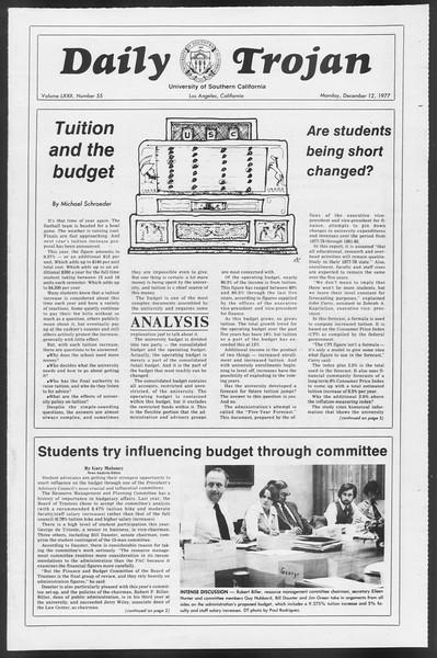 Daily Trojan, Vol. 72, No. 55, December 12, 1977