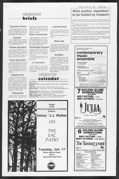 Daily Trojan, Vol. 72, No. 64, January 13, 1978