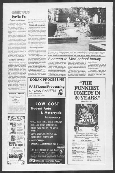 Summer Trojan, Vol. 69, No. 14, August 04, 1976