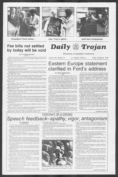 Daily Trojan, Vol. 70, No. 15, October 08, 1976
