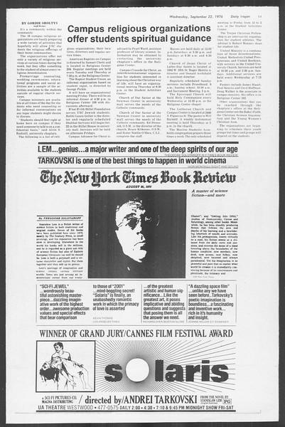 Daily Trojan, Vol. 70, No. 3, September 22, 1976