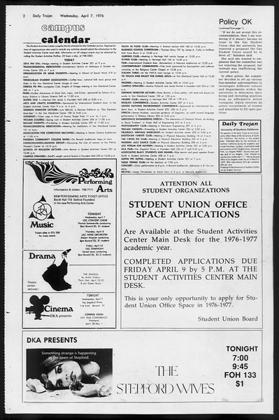Daily Trojan, Vol. 68, No. 110, April 07, 1976