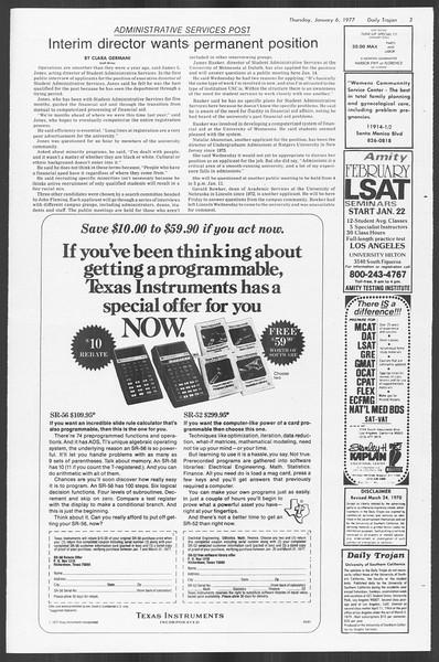 Daily Trojan, Vol. 70, No. 58, January 06, 1977
