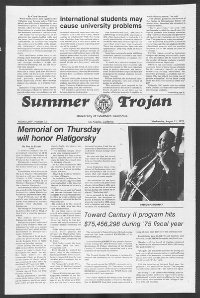 Summer Trojan, Vol. 69, No. 15, August 11, 1976