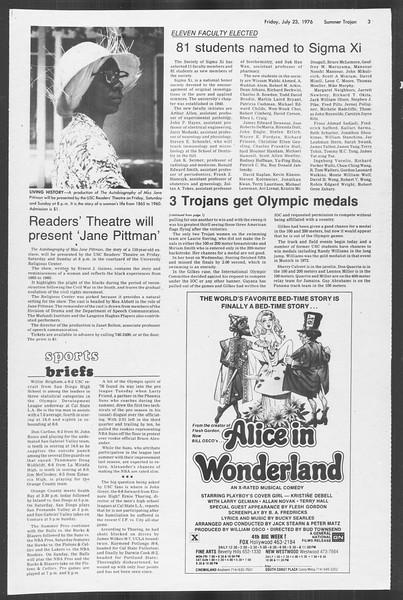 Summer Trojan, Vol. 69, No. 11, July 23, 1976