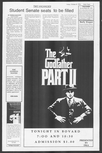 Daily Trojan, Vol. 70, No. 15, October 08, 1976