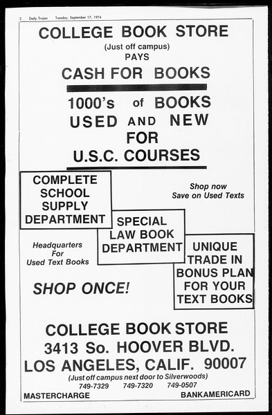 Daily Trojan, Vol. 67, No. 2, September 17, 1974
