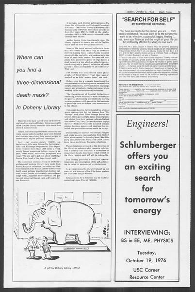 Daily Trojan, Vol. 70, No. 12, October 05, 1976
