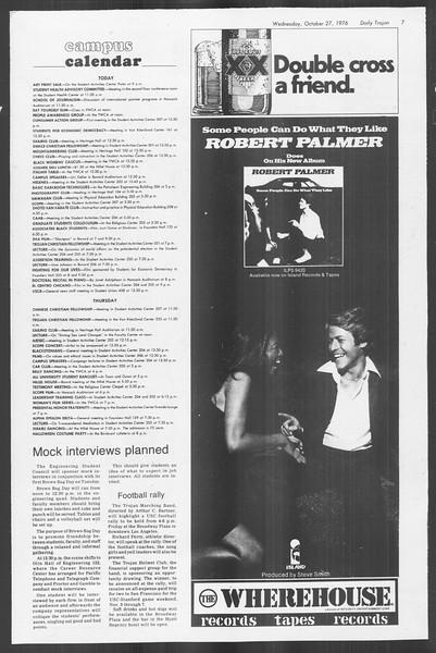 Daily Trojan, Vol. 70, No. 27, October 27, 1976