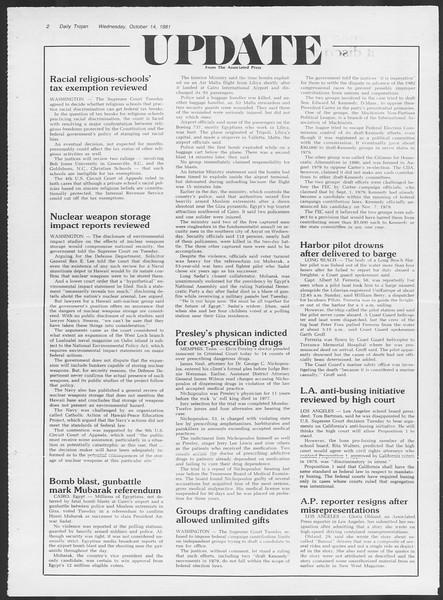 Daily Trojan, Vol. 91, No. 30, October 14, 1981