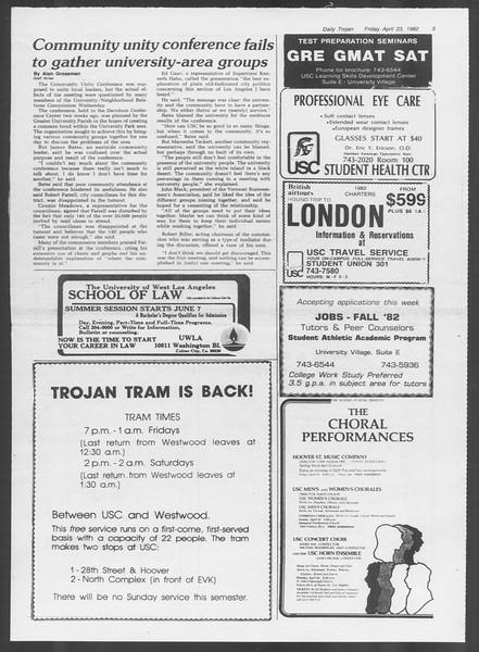 Daily Trojan, Vol. 91, No. 65, April 23, 1982