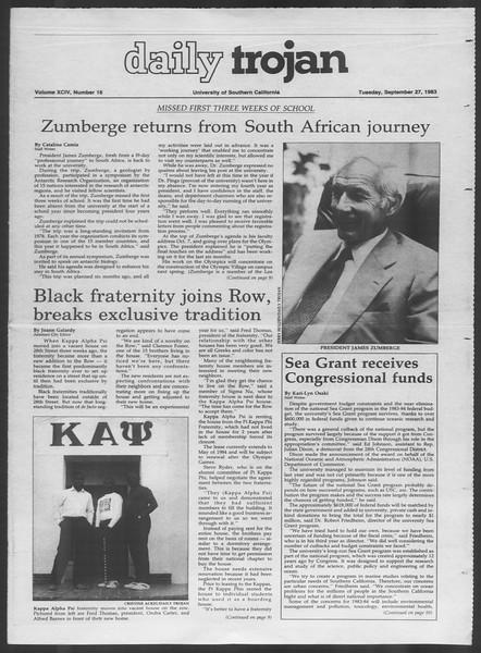 Daily Trojan, Vol. 94, No. 16, September 27, 1983