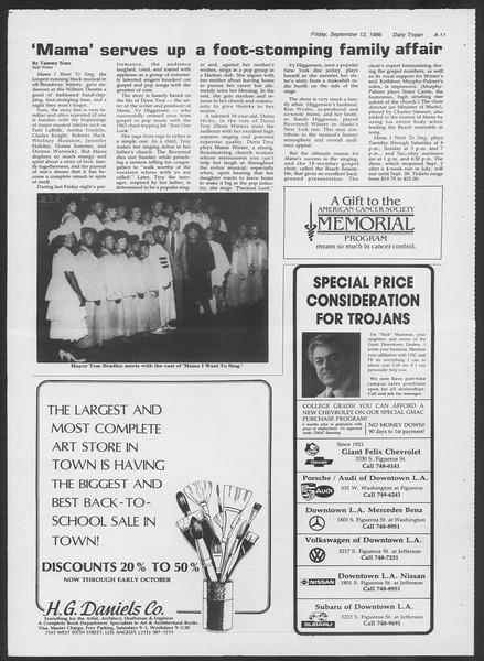Daily Trojan, Vol. 102, No. 9, September 12, 1986