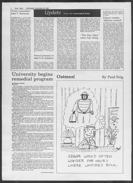 Daily Trojan, Vol. 94, No. 56, November 23, 1983