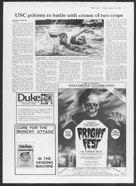 Daily Trojan, Vol. 91, No. 42, October 30, 1981