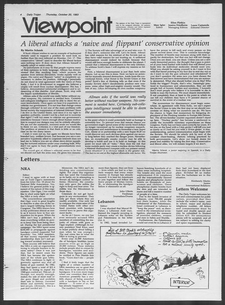 Daily Trojan, Vol. 94, No. 33, October 20, 1983