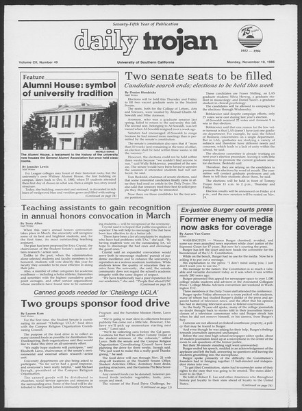 Daily Trojan, Vol. 102, No. 49, November 10, 1986