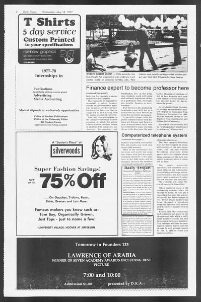 Daily Trojan, Vol. 71, No. 62, May 18, 1977