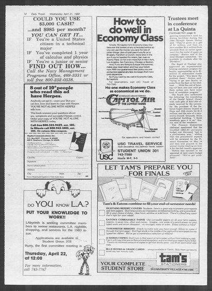 Daily Trojan, Vol. 91, No. 63, April 21, 1982