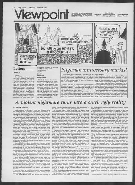 Daily Trojan, Vol. 94, No. 20, October 03, 1983