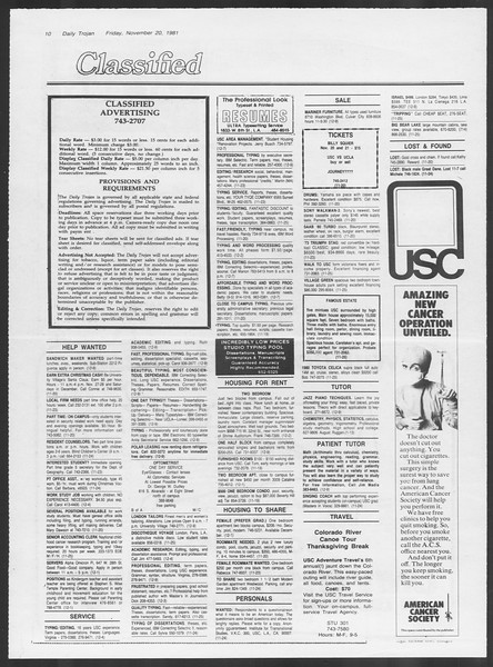 Daily Trojan, Vol. 91, No. 56, November 20, 1981