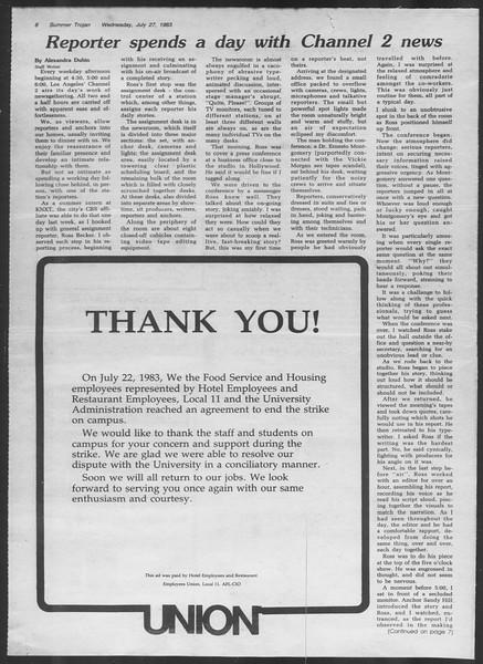 Summer Trojan, Vol. 93, No. 10, July 27, 1983