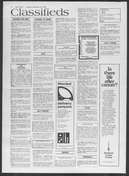 Daily Trojan, Vol. 94, No. 15, September 26, 1983
