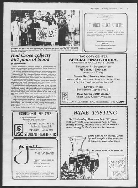 Daily Trojan, Vol. 91, No. 60, December 01, 1981