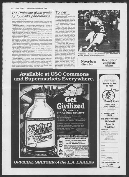 Daily Trojan, Vol. 102, No. 41, October 29, 1986