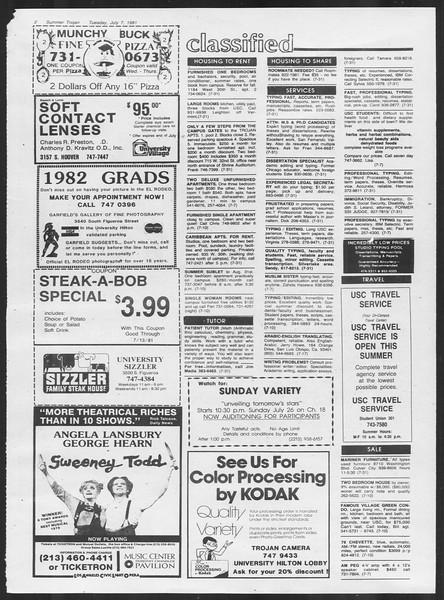 Summer Trojan, Vol. 90, No. 6, July 07, 1981