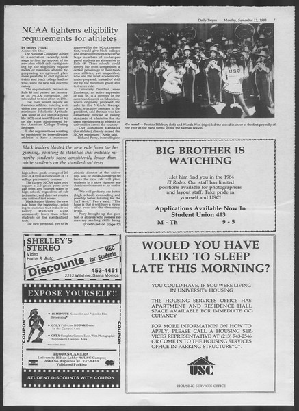 Daily Trojan, Vol. 94, No. 5, September 12, 1983