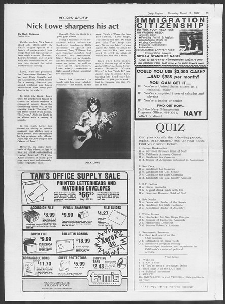 Daily Trojan, Vol. 91, No. 45, March 18, 1982