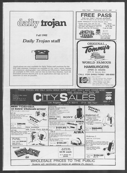 Daily Trojan, Vol. 91, No. 63, April 21, 1982
