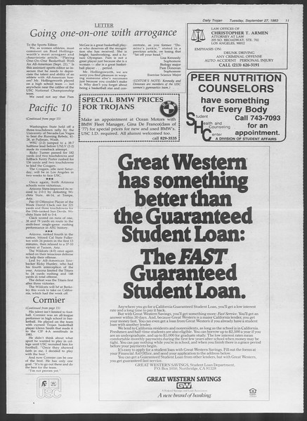 Daily Trojan, Vol. 94, No. 16, September 27, 1983